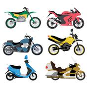Motorcycle types multicolor motorbike ride speed sport transport vector - stock illustration