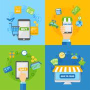 Stock Illustration of Computer shopping concepts of online payment methods flat design vector