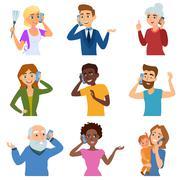 Set of calling mobile business adult people talking phone character vector - stock illustration