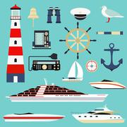 Nautical and marine icons, design element sea symbols vector - stock illustration