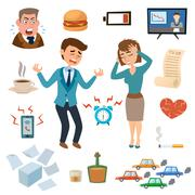 Stress people pressure workplace tired unhappy adult sad problem frustration set - stock illustration