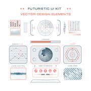 UI flat design web elements template set interface layout symbol vector Piirros