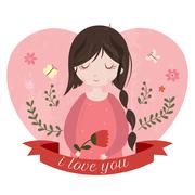 Stock Illustration of I love you card with adorable cartoon girl