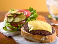 Cheeseburger, open face Stock Photos