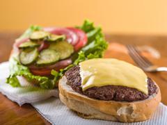 Cheeseburger, open face - stock photo