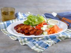Chicken Wings and Vegetables with Ranch Dip on Platter Stock Photos