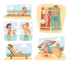 People on the sand beach fun vacation happy time cartoon vector illustration - stock illustration