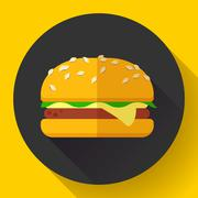 Hamburger icon with long shadow. Flat design style. Stock Illustration