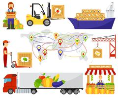 Cartoon green eco food fruits delivery truck vector illustration - stock illustration