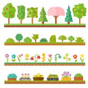 Trendy beautiful set of flat plants forest elements include grass, berries - stock illustration