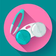 Contact lens case. Container and tweezers, for contact lenses  Flat icon - stock illustration