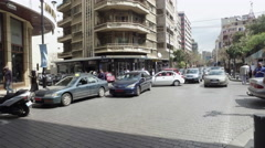 Cars passing Hamra street, Lebanon - stock footage