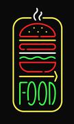 Fast food neon sign light restaurant cafe black open night advertise background - stock illustration