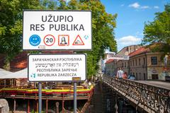 Uzupis republic, autonomous community, Vilnius, Lithuania - stock photo