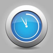 Blue metal button with last minute clock Stock Illustration