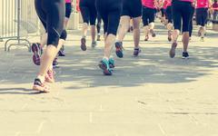Stock Photo of Marathon runners competing.