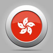 Metal button with flag of Hong Kong Stock Illustration