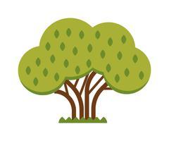 Green tree full of red apple garden summer organic season food fruits flat Stock Illustration