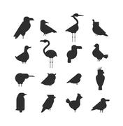 Vector Collection of nature black bird wildlife animal silhouettes - stock illustration