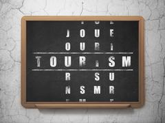Vacation concept: Tourism in Crossword Puzzle Stock Illustration