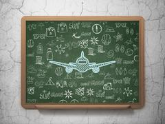 Travel concept: Aircraft on School board background - stock illustration