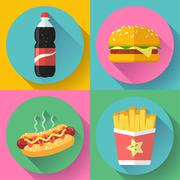 fast food flat design icon set. hamburger, cola, hot dog and french fries - stock illustration