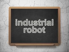 Manufacuring concept: Industrial Robot on chalkboard background - stock illustration