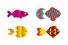 Aquatic fish wildlife aquarium underwater nature tropical seafood animal vector - stock illustration