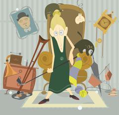Old woman plays golf Stock Illustration