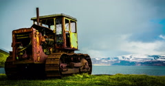 4K Surreal timelapse of an abandoned track vehicle in Iceland Stock Footage