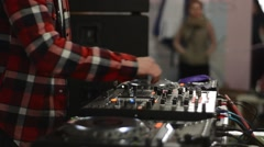 Disc Jockey Is Operating Dj Mixer Stock Footage