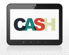 Currency concept: Tablet Pc Computer with Cash on  display Stock Illustration