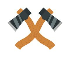 Axe logo steel isolated and sharp axe cartoon weapon icon on white - stock illustration