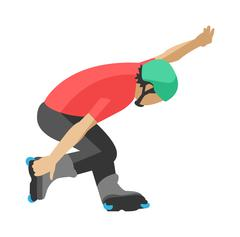 Roller man tricks in skates skating sport extreme activity motion freestyle - stock illustration