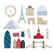 Eurotrip tourism buildings, travel famous worlds monuments design and Euro trip Stock Illustration