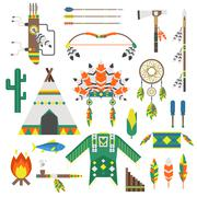 Indians icon temple ornament and indians icons element vector - stock illustration