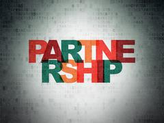 Finance concept: Partnership on Digital Paper background - stock illustration