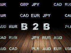 Finance concept: B2b in grunge dark room Stock Illustration