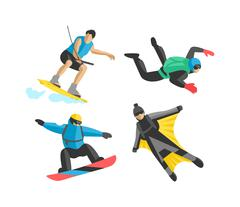 Extreme sport vector people silhouette - stock illustration