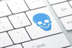 Healthcare concept: Scull on computer keyboard background Stock Illustration