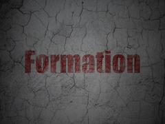Education concept: Formation on grunge wall background Stock Illustration