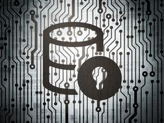 Software concept: circuit board with Database With Lock Stock Illustration