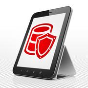 Software concept: Tablet Computer with Database With Shield on display Stock Illustration