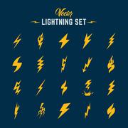 Unusual Abstract Vector Lightning or Blizzard Flat Style Icon Set - stock illustration