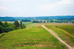 Hill forts in Kernave, old Lithuanian capital - stock photo