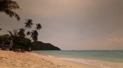 Beautiful Thai beach. Blue sky over wild island in Thailand Stock Footage