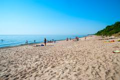 Sandy beach in Klaipeda, Lithuania Stock Photos