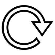 Rotate Right Contour Vector Icon - stock illustration
