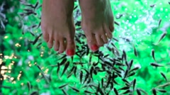 Fish foot massage for girl close up Stock Footage