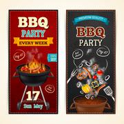 Barbecue Party Banners Set - stock illustration
